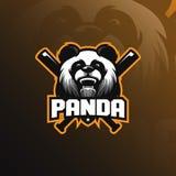熊猫吉祥人商标与现代例证概念样式的设计传染媒介徽章、象征和T恤杉打印的 熊猫例证 向量例证