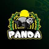 熊猫吉祥人商标与现代例证概念样式的设计传染媒介徽章、象征和T恤杉打印的 睡眠熊猫 皇族释放例证