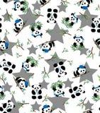 熊猫和竹子样式有星背景 10 eps 库存例证