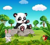 熊猫在森林里 向量例证