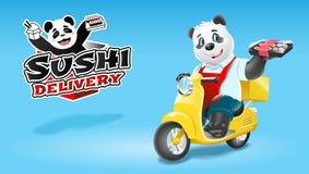 熊猫在滑行车的寿司交付 传染媒介剪贴美术例证 免版税库存照片