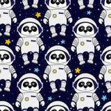 熊猫宇航员和星在空间,无缝的样式 库存图片