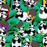 熊猫戏剧3d平台熊猫杯子竹无缝的样式 库存例证