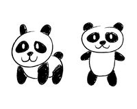 熊猫手图画 库存图片