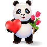 熊猫拿着心脏的和郁金香 华伦泰` s天传染媒介剪贴美术例证 库存照片