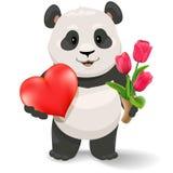 熊猫拿着心脏的和郁金香 华伦泰` s天传染媒介剪贴美术例证 库存图片