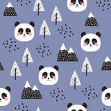 熊猫无缝的样式背景 库存例证