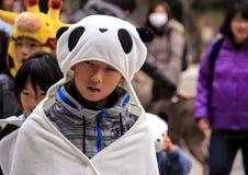 熊猫服装的小男孩走在公园的 免版税库存图片