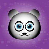 熊猫的逗人喜爱的面孔在紫罗兰色背景的 图库摄影