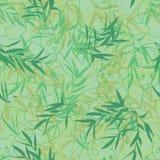 熊猫线绿色无缝的样式 库存例证