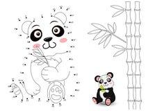熊猫连接小点并且上色 免版税库存图片