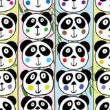 熊猫顶头垂直的无缝的样式 向量例证
