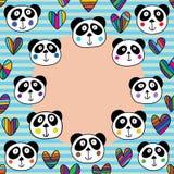 熊猫顶头爱圈子框架 库存例证