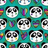 熊猫顶头爱无缝的样式 皇族释放例证