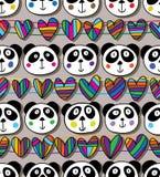 熊猫顶头爱水平的无缝的样式 库存例证