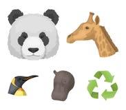 熊猫,长颈鹿,河马,企鹅,现实动物在动画片样式传染媒介标志库存设置了汇集象 免版税库存照片