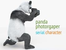 熊猫animail字符摄影师照相机采取图片被隔绝的背景3d cg回报例证 免版税库存照片