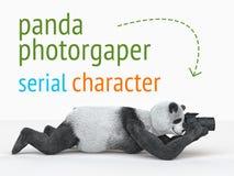 熊猫animail字符摄影师照相机采取图片被隔绝的背景3d cg回报例证 库存图片