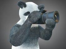 熊猫animail字符摄影师照相机采取图片被隔绝的背景3d cg回报数字式例证 免版税库存图片