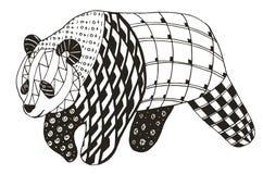 熊猫zentangle传统化了,导航,例证,徒手画的铅笔 库存照片