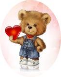 熊玩具水彩例证 免版税库存图片