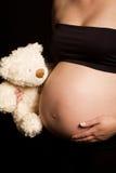 熊白种人藏品怀孕的女用连杉衬裤妇&# 图库摄影