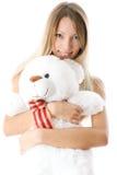 熊白肤金发的女孩可爱的女用连杉衬裤年轻人 库存照片