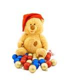 熊盖帽圣诞节玩具 免版税库存图片