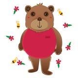 熊穿戴桃红色布料逗人喜爱的蜂花 库存图片