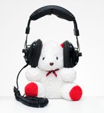 熊穿戴耳机 免版税库存照片