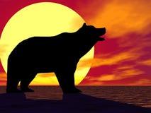 熊红色日落 皇族释放例证