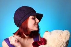 熊美丽的女孩女用连杉衬裤 库存照片