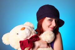 熊美丽的女孩女用连杉衬裤 免版税库存图片