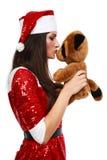 熊辅助工s圣诞老人女用连杉衬裤 图库摄影