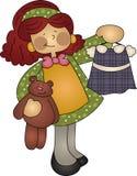 熊逗人喜爱的女孩藏品成套装备女用&# 库存例证