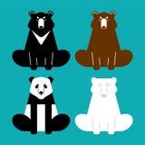 熊集合 熊猫和北美灰熊 Baribal和北极熊 传染媒介illu 皇族释放例证
