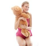熊青少年女孩的女用连杉衬裤 免版税库存照片