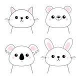 熊,兔子,野兔,北美灰熊,考拉,猫小猫头面孔集合 乱画线性剪影 桃红色面颊 逗人喜爱的漫画人物 宠物生命 皇族释放例证