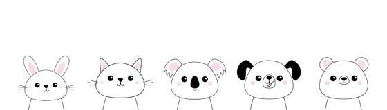 熊,狗,猫小猫,兔子,野兔,北美灰熊,考拉顶头面孔集合 乱画线性剪影 桃红色面颊 逗人喜爱的漫画人物 T嘘 库存例证