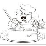 熊-厨师,着色书 库存图片