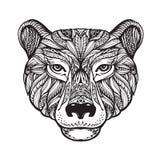 熊 种族模式 与凯尔特元素的手拉的传染媒介例证 顶头北美灰熊,动物标志 皇族释放例证