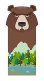 熊 顶头北美灰熊 储备和森林公园的模板 L 向量例证
