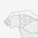 熊antistress着色 装饰,打印和上色的黑白图画 向量例证