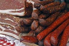熏制的猪肉烟肉7片断  库存图片