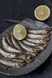 熏制的西鲱'Kieler Sprotten' 库存照片