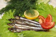 熏制的鱼服务用柠檬和蕃茄 免版税库存照片