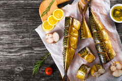熏制的鱼鲭鱼或Scombe,顶视图 库存照片