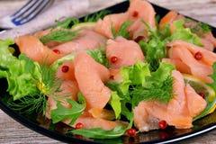 熏制鲑鱼假日开胃菜  库存照片