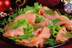 熏制鲑鱼假日开胃菜  免版税库存图片