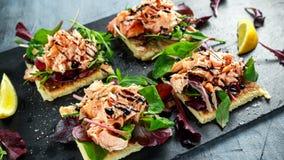 熏制鲑鱼在沙拉床上剥落,并且爱尔兰土豆减肥快餐,开胃菜 免版税图库摄影
